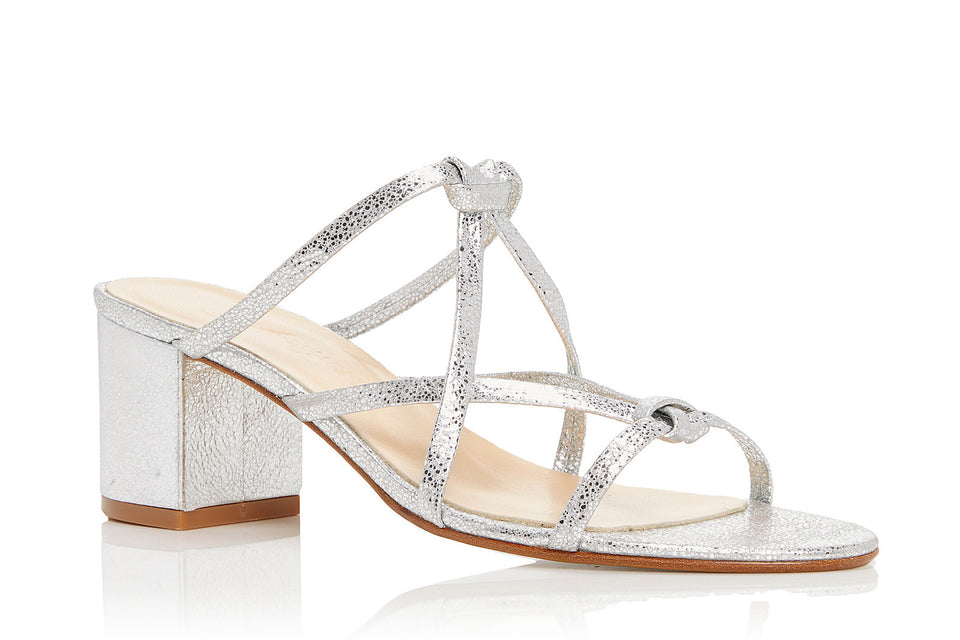 Ibiza Sandal in Metallic Silver Leather