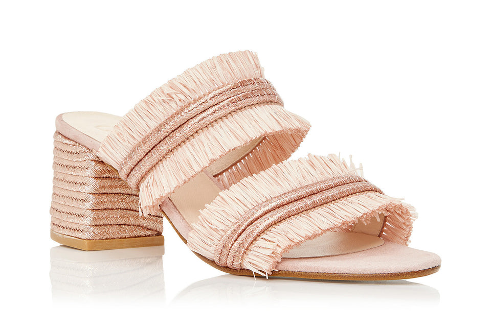Iris Sandal in Rose Raffia