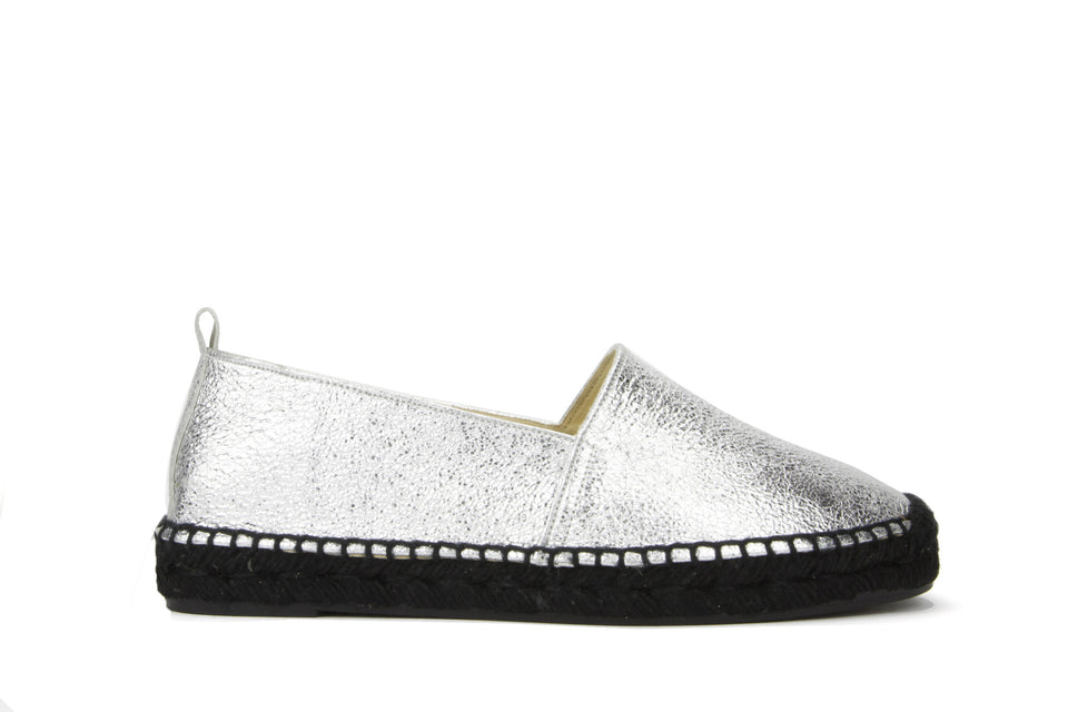Habana Espadrille Cracked Leather Metallic Silver