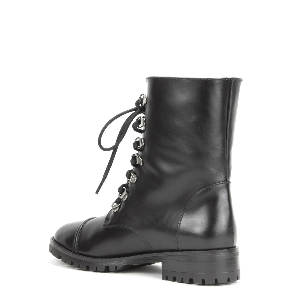 Roma Combat Boot <b>Black Calf With Black Shearling Lining</b>