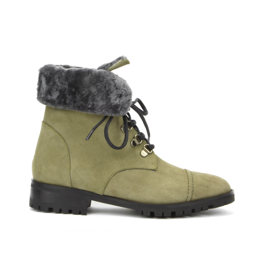 Roma Combat Boot <b>Nobuk Romanche With Grey Shearling Lining</b>