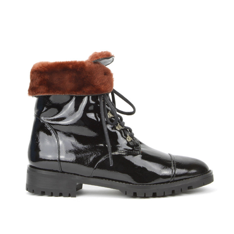 Roma Combat Boot <b>Black Patent Leather With Red Shearling Lining</b>