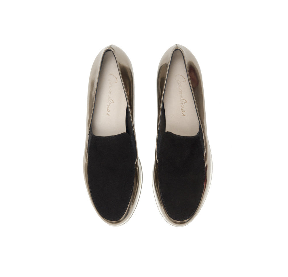 Tosca Loafers <b>Black Suede and Silver Specchio with Sierra Rubber Sole</b>