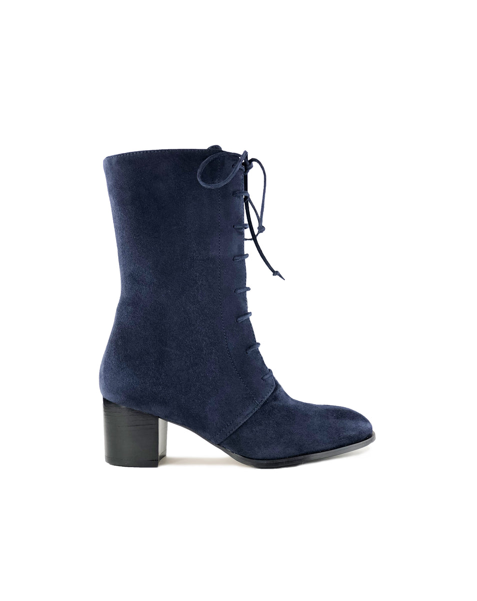 Abbie Lace-Up Calf Boots in Marine Cashmere Suede