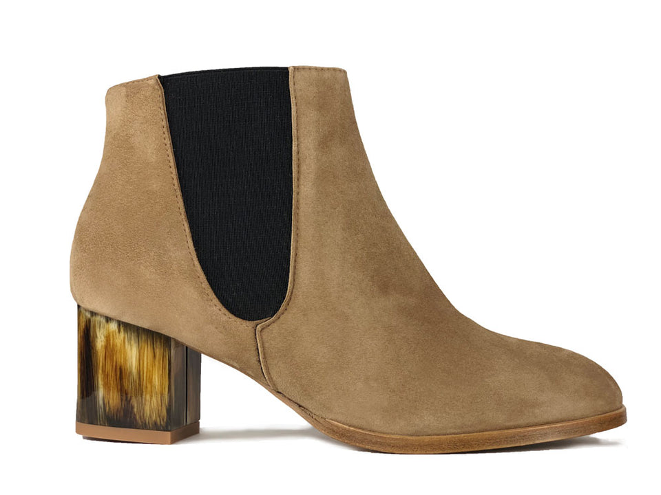 Adele Camel Suede Ankle Boot Hand Painted Heel