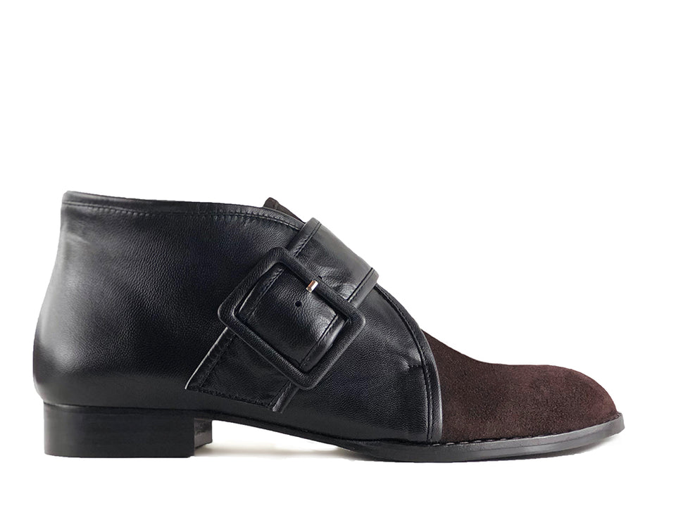 Bimba Black Calf and Mocha Cashmere Suede