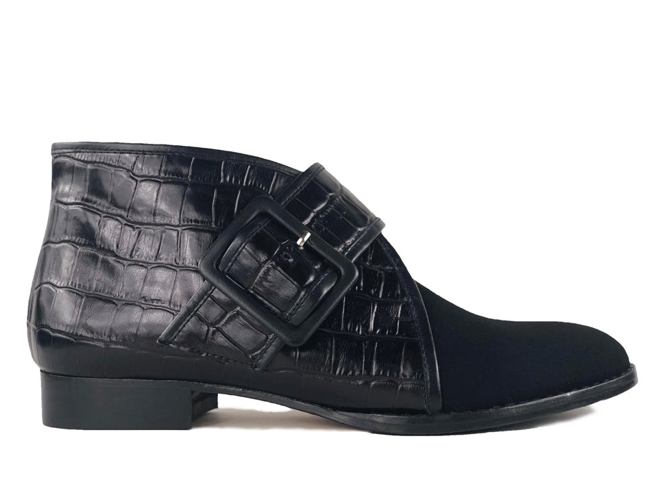 Bimba Black Croc and Black Suede