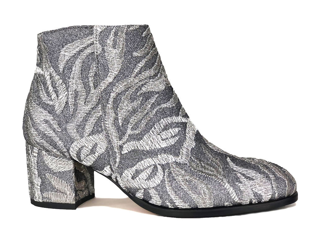 Ana Ankle Boot in Embroidered Silver Thread