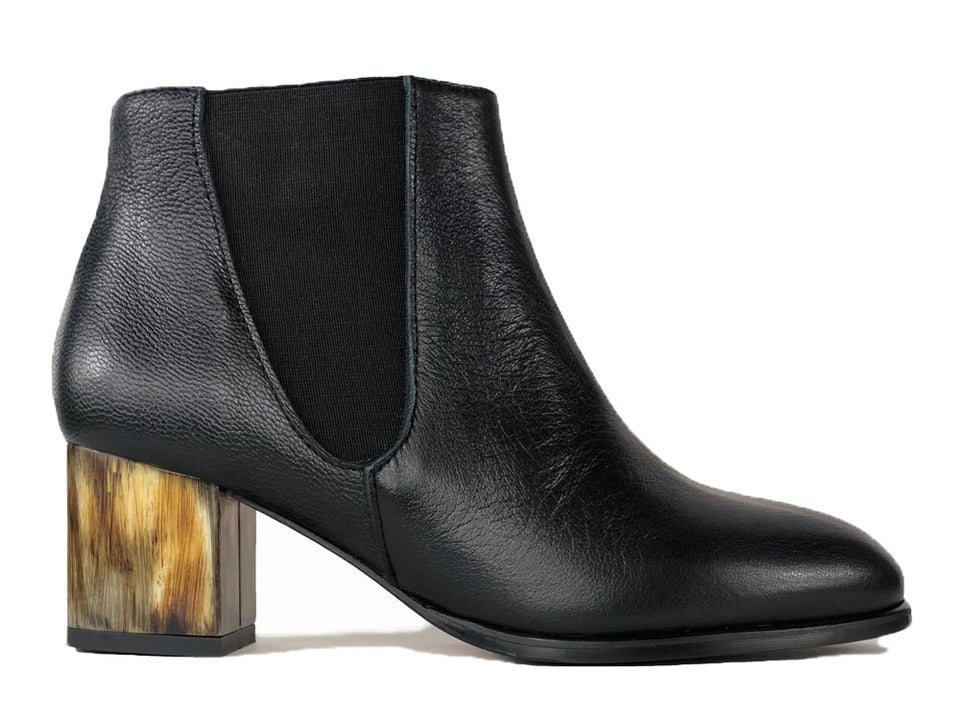 Adele Black Calf Ankle Boots Painted Heel