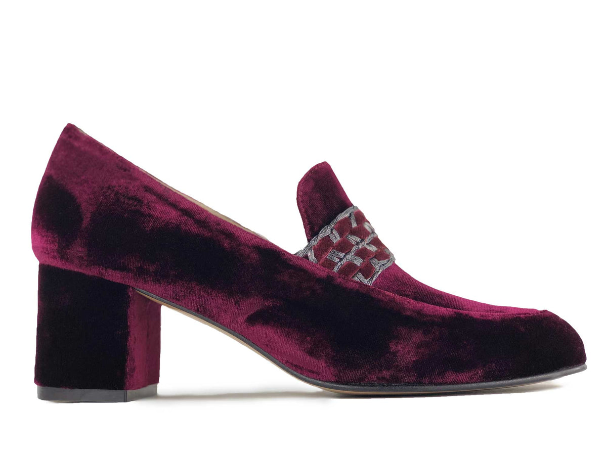 Gin Loafer in Burgundy Velvet