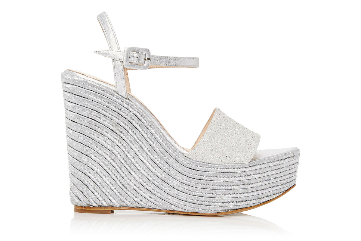 Macarena Platform Silver Leather/Rope