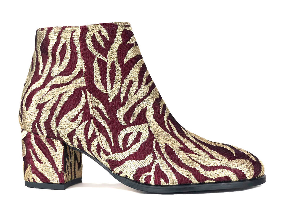 Ana Ankle Boot in Embroidered Burgundy Thread