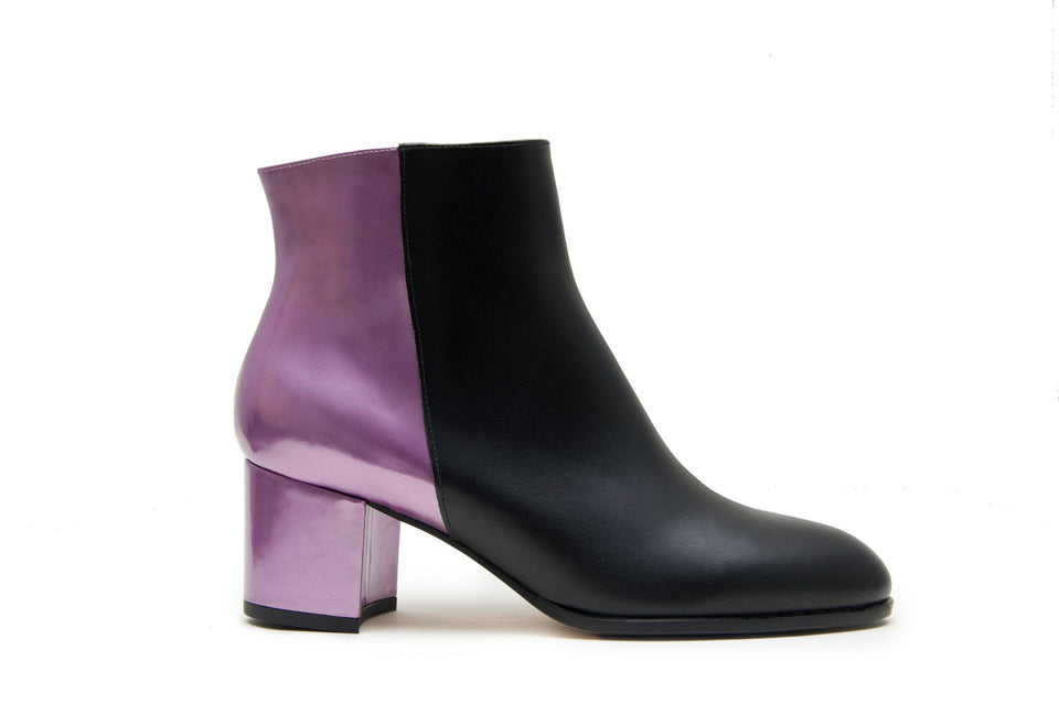 Ana Ankle Boot Black Calf and Lilac Heel