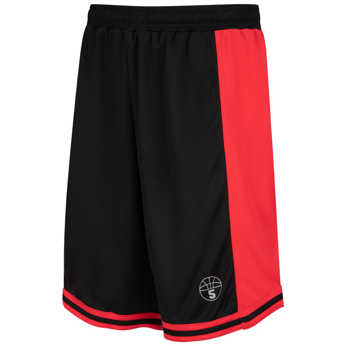 Starting 5 Hudson Basketball Shorts with pockets, Black/Red