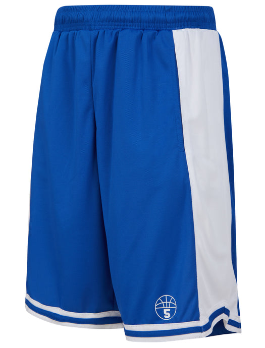 Starting 5 Hudson Basketball Shorts with pockets, Royal/White