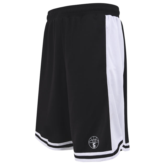 Starting 5 Hudson Basketball Shorts with pockets, Black/White