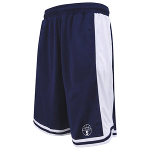 Starting 5 Hudson Basketball Shorts with pockets, Navy/White