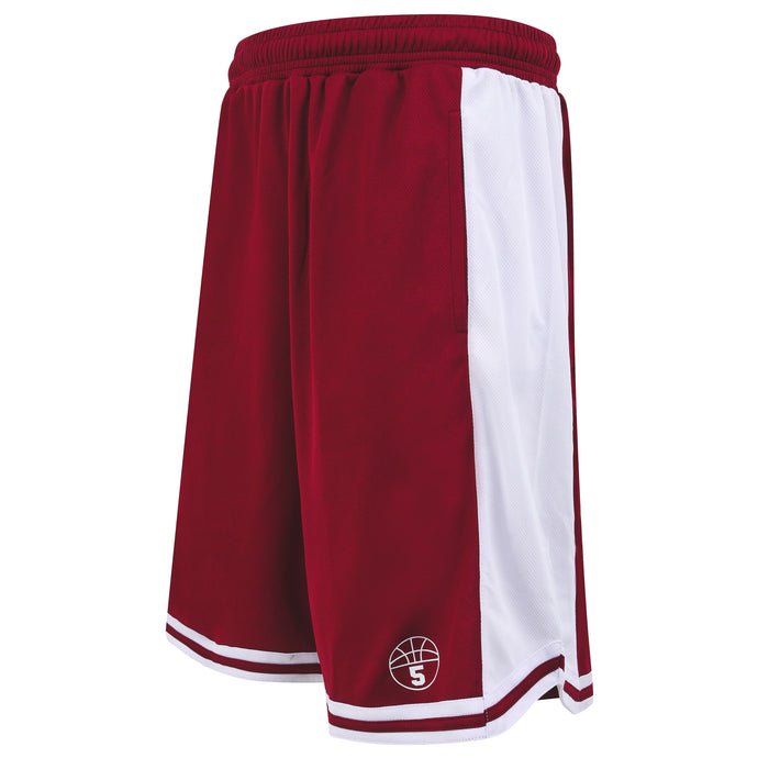 Starting 5 Hudson Basketball Shorts with pockets, Maroon/White