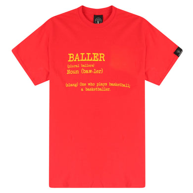 Baller Red Basketball T Shirt with Dictionary Definition