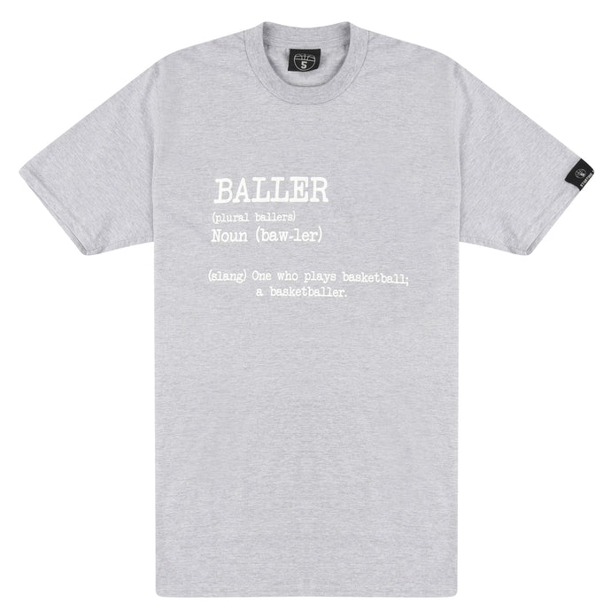 Baller Grey Basketball T Shirt with Dictionary Definition
