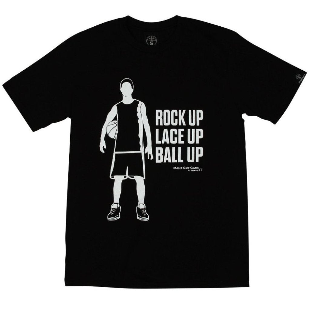 Manz Got Game Black Basketball T Shirt with White Print