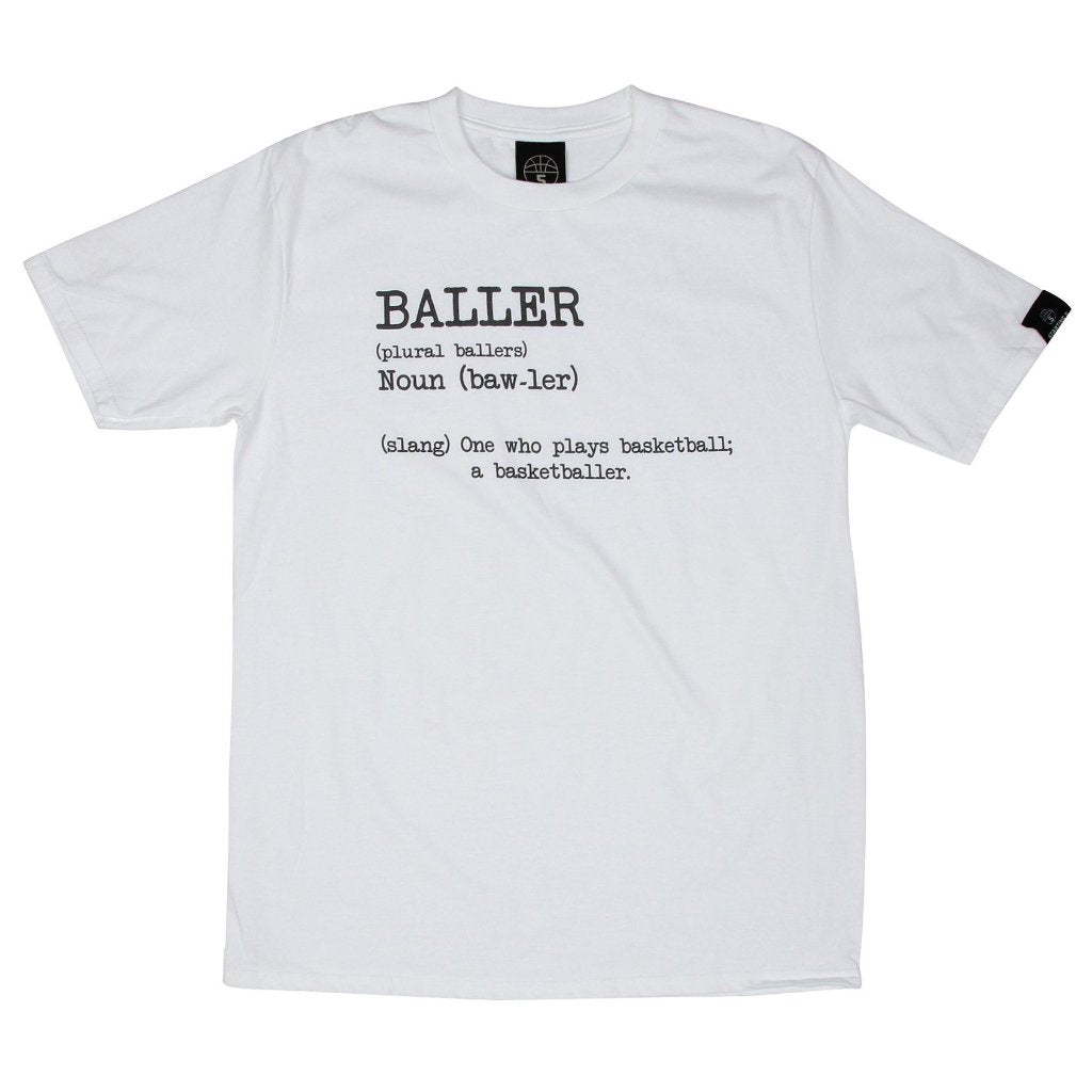 Baller White Basketball T Shirt with Dictionary Definition