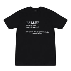 Baller Black Basketball T Shirt with Dictionary Definition