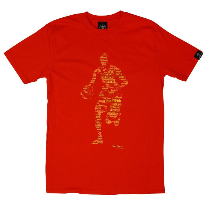 Fast Break Red T Shirt with Yellow Print