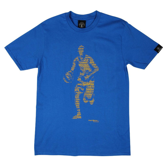 Fast Break Royal T shirt with Yellow Print