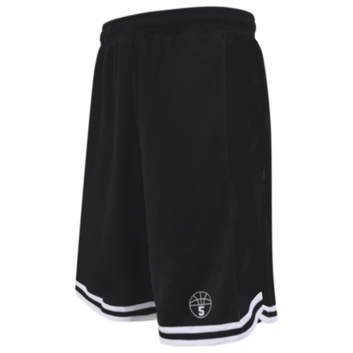Starting 5 Hudson Basketball Shorts with pockets, Black/Black/White