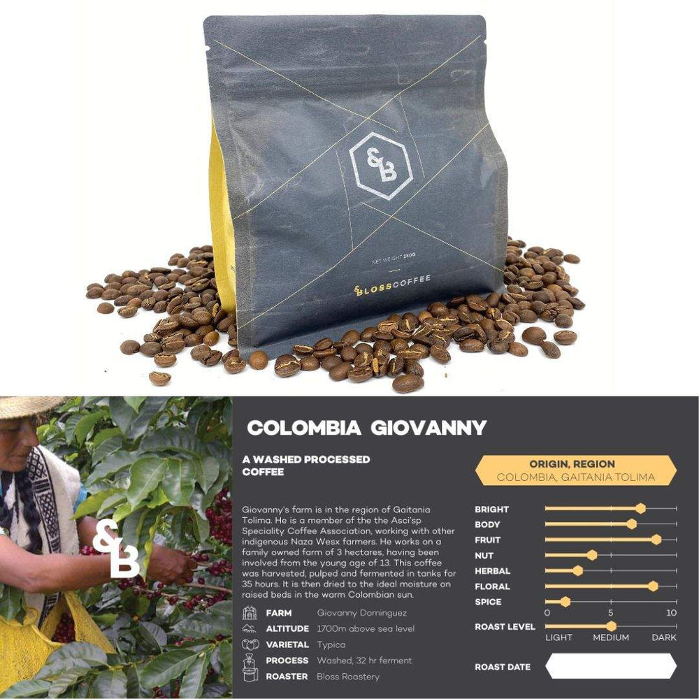 Image of Colombian Giovanny single origin coffee 250g bag