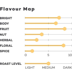 Load image into Gallery viewer, Image of Colombian Giovanny coffee Flavour map