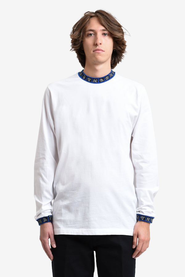 JAQUARD L/S TEE - WHITE