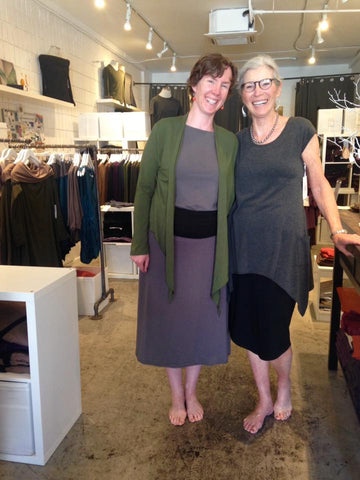 Mother and Daughter wearing modular sustainable Bamboo clothing in Vancouver BC