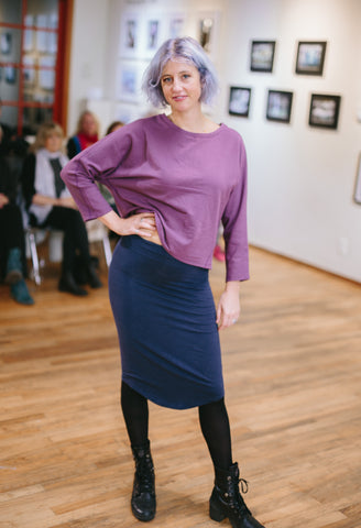 Bamboo and organic cotton cropped sweatshirt, and pencil skirt in Lavender and Navy respectively