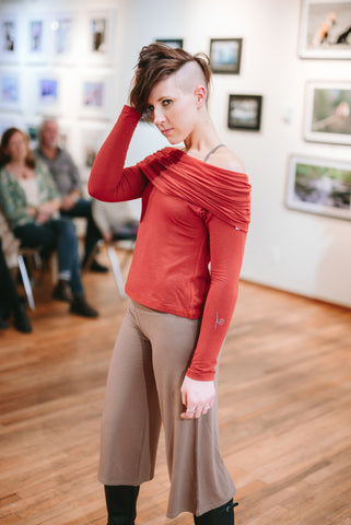Organic Cotton and Bamboo cropped pants and Cowl long sleeve, Made in Canada, made in Vancouver