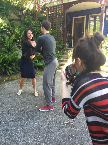 Playfighting during Movement Global Fashion Shoot. Sustainable bamboo clothing for travel, yoga, fun