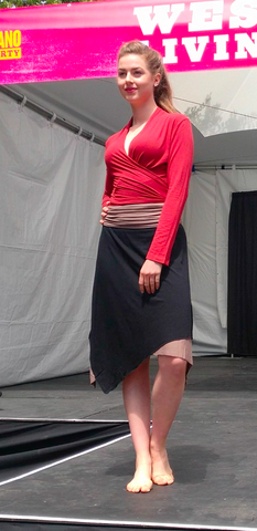 Sustainable Vancouver Fashion Red top and black reversible skirt in Bamboo on white model