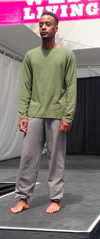 Made in Canada sustainable men's clothing male model wearing a reversible long sleeve and grey pants