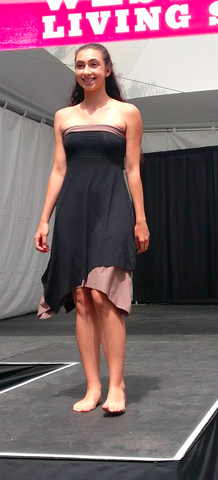 Sustainable  Black reversible modular skirt worn as a strapless dress
