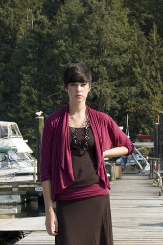 Shania Cardigan. Organic cotton and bamboo made in Vancouver in rose