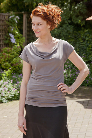 Kelly Drape T Shirt in Bamboo and Organic Cotton, made in Canada, Made in Vancouver Eco Fashion