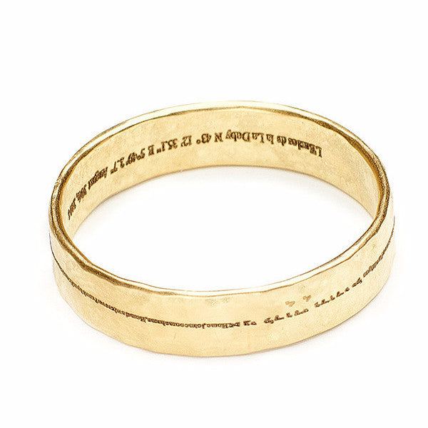Men's hammered band engraved with secret personal message