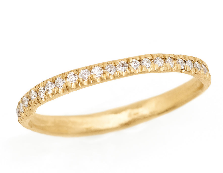14kt gold pave diamond eternity band, 2mm diamond band wedding band