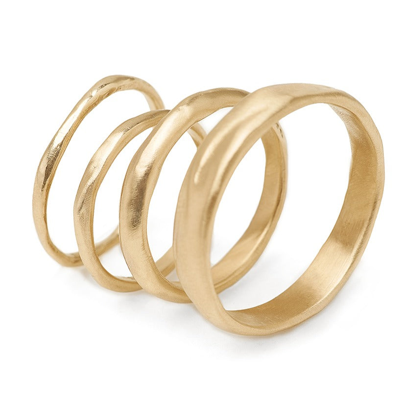 Handmade wedding bands recycled 14kt gold organic hand carved texture