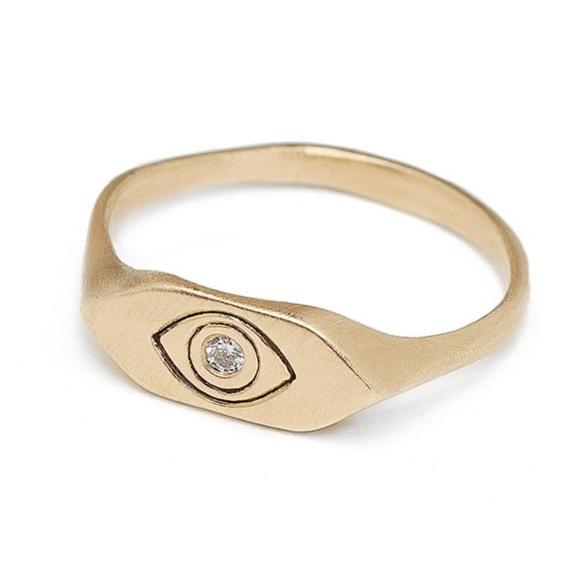 Evil eye signet ring with diamond