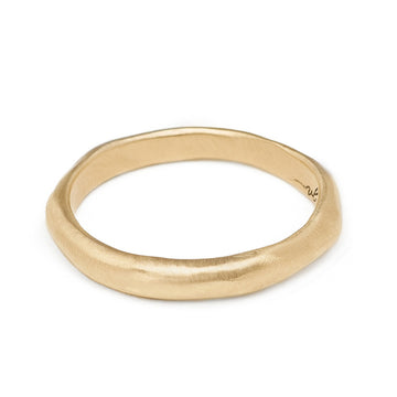 3mm recycled gold soft hand textured wedding band