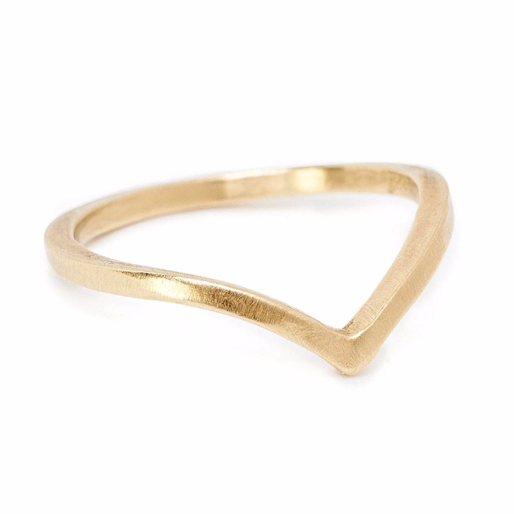 14kt recycled gold Arc band. Curved wedding band handmade in Brooklyn NY Sustainable jewelry