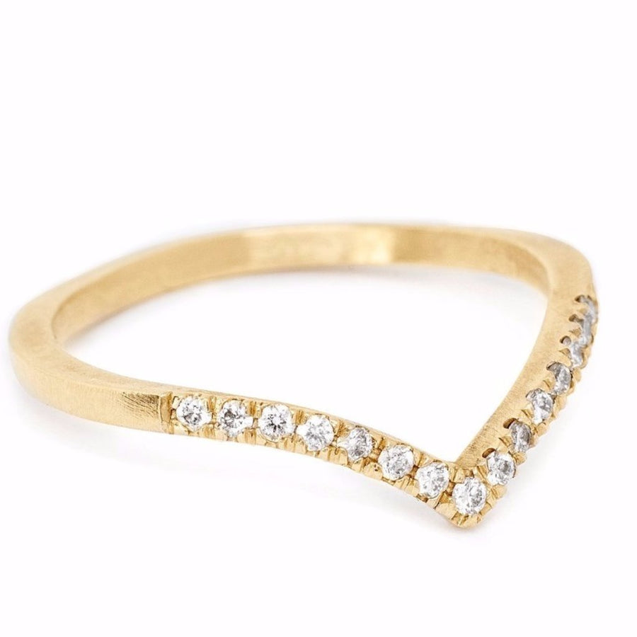 Diamond arc curved wedding band and stacking ring 14kt gold pave diamonds