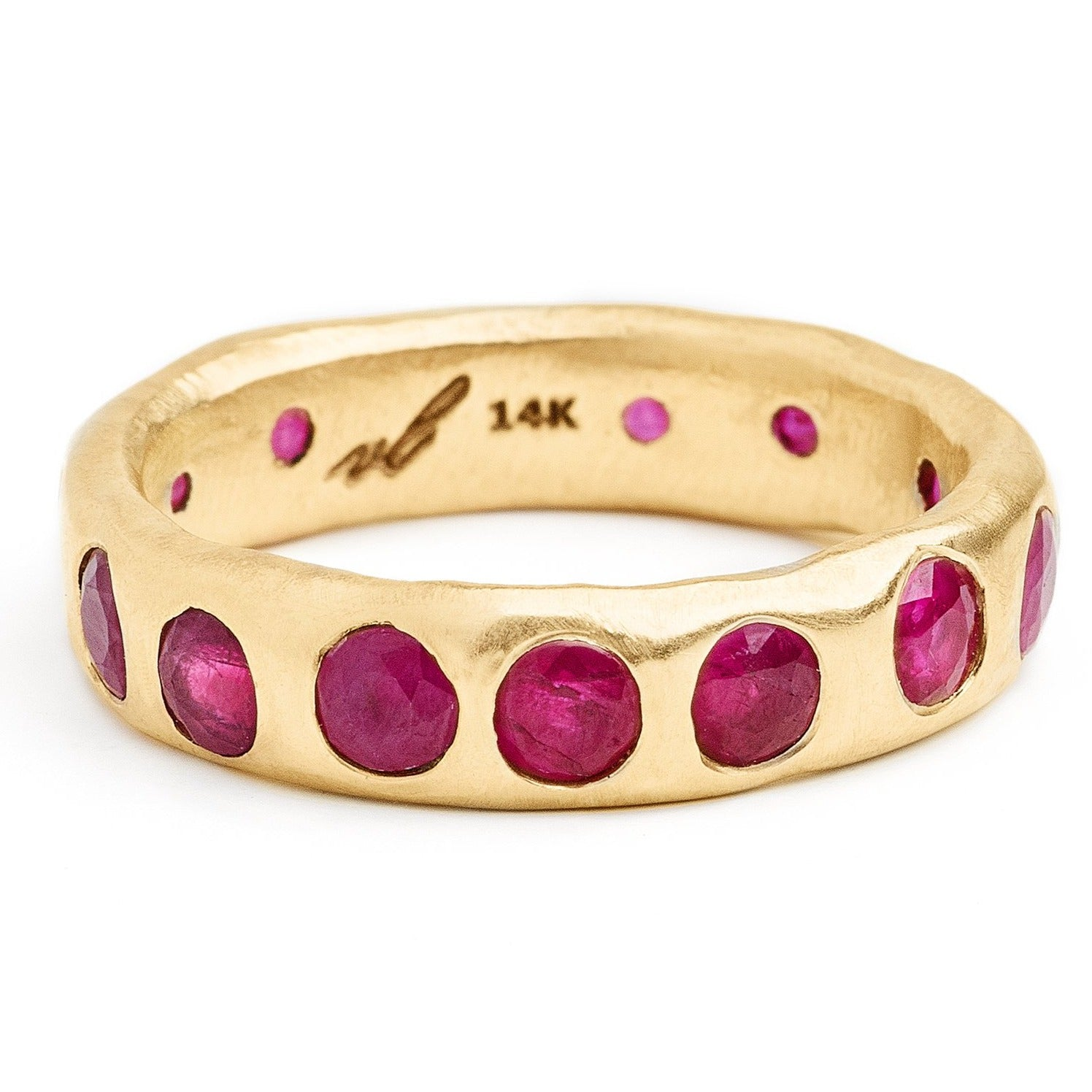 Bright ruby eternity style ring organic eternity band. Alternative wedding bands with ruby